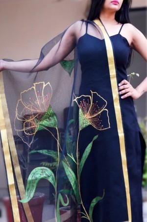 Black organza 3D Floral Handpainted Stole