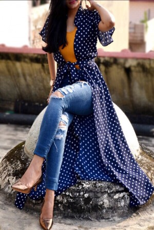 Navy Blue Georgette Printed Long Shrug