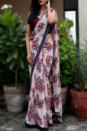 Off White Printed Georgette Saree