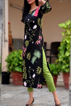 Black Crepe Printed Straight Kurti