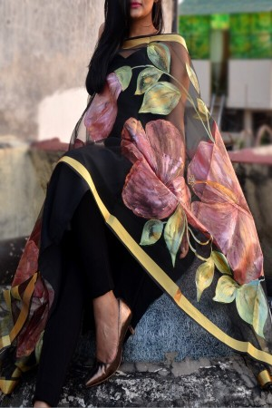 Black Organza Hibiscus Floral Hand Painted Stole