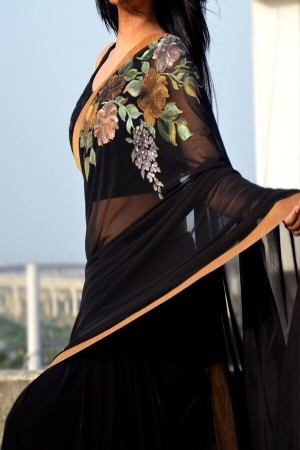 Black Net Hand-Painted Floral Saree