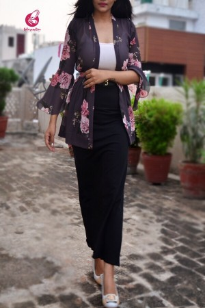 Dark Grey Printed Floral Shrug