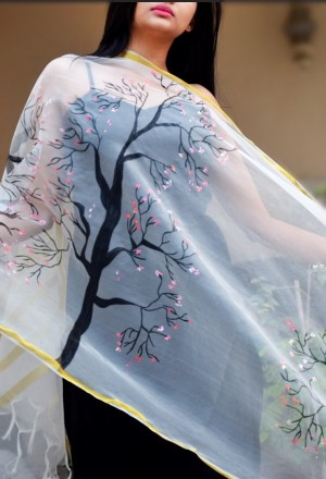 White organza Floral Handpainted Stole