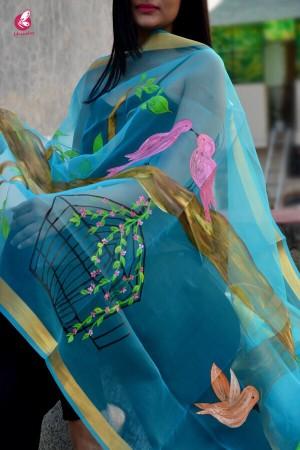 Sky Blue Oraganza Handpainted Stole