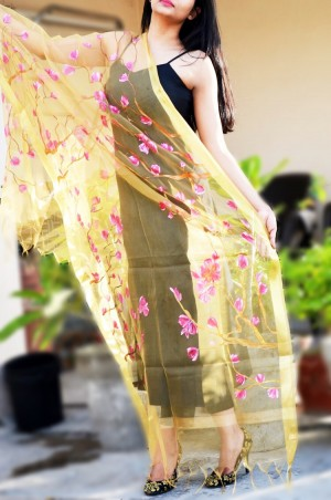 Golden Organza Hand Painted Floral Stole