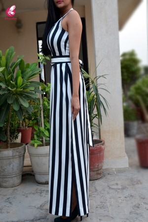 Black and White Cotton Striped Maxi Dress