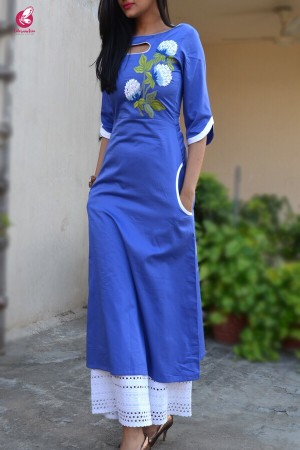 Blue Sarton Lycra Embroidered A-Line Kurti