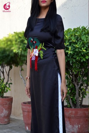Black Satin Embroidered Kurti