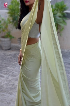 Pastel Lime Silk Georgette Saree
