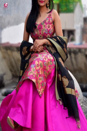 Magenta Banarasi Padded Kurta with Skirt and Dupatta