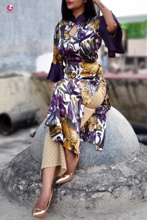 Purple Satin Printed Quarter Sleeves Kurti
