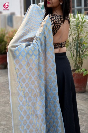 Powder Blue Banarasi Silk Dupatta