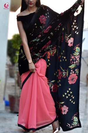 Embellished Half and Half Georgette Velvet Saree