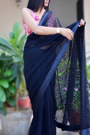 Black Floral Chandelier Net Border Saree