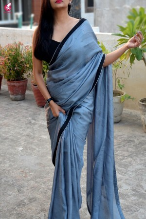 Grey Matte Upada Black Taping Saree