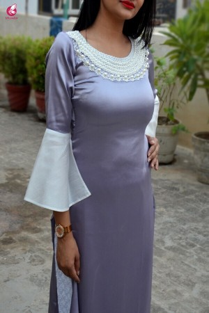 Light Purple Satin Straight Kurti