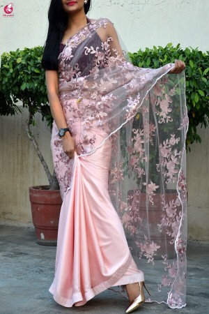 Peach Embroidered Satin Net Half and Half Saree