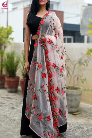Peach Tissue Embroidered Dupatta
