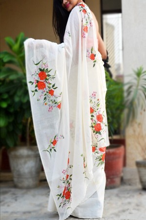 Off White Handpainted Floral Organdy Saree