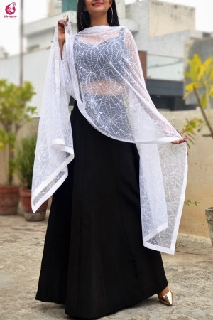 White Embroidered Spider Web Net Stole