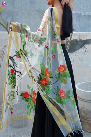 Off White Hand Painted Birds Floral Stole