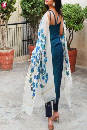 Off White Chanderi Teal Green Floral Handpainted Stole