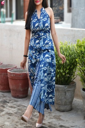 Indigo Print Cotton Sleeveless Kurti Set
