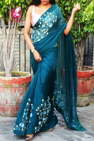 Teal Pure Silk Chiffon Sequins Pearl Handwork Saree