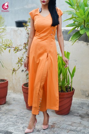 Carrot Orange Cotton Silk Kurti Set
