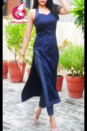 Navy Blue Cotton Silk Sleeveless Halter Neck Kurti With Navy Blue Printed Cotton Silk Pants Kurti Set-Black