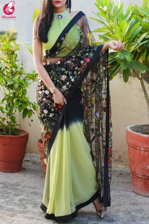 Lime Green & Black Double Shaded Georgette Net Satin Taping Saree