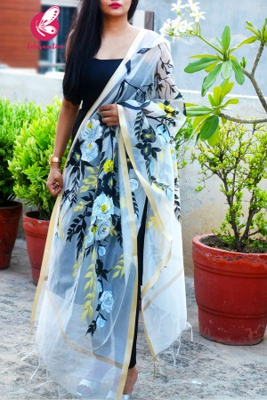White Floral Pure Organza Handpainted Stole