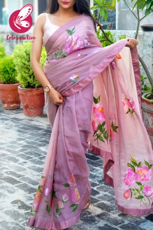 Light Mauve Hand-painted Organza Georgette Dupion Taping Saree