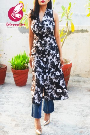Black and White Printed Crepe Floral Sleeveless Kurti