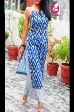 Indigo Blue Strappy Cambric Cotton Lining Kurti with Blue and White Cambric Cotton Palazzo Kurti Set