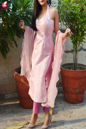Baby Pink Padded Brocade Resham Backless Kurti with Dark Pink Cotton Silk Pants and Baby Pink Organza Ruffle Dupatta