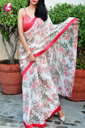 Off White and Carrot Red Chiffon Satin Taping Saree