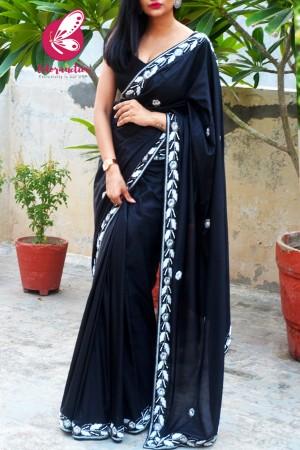 Black Pure Silk Silver Dabka Zardosi Pearl Handwork Saree