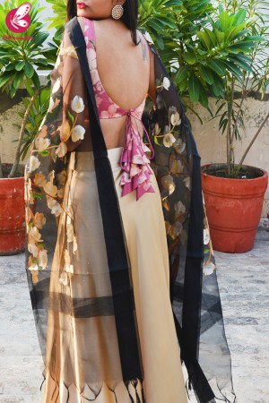 Pink & Golden Satin Lehenga With Black Hand Painted Organza Stole
