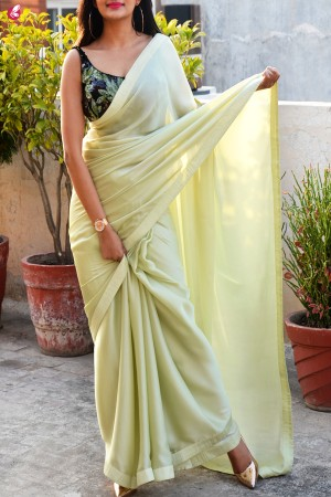 Pastel Lime Green Silk Georgette Dupion Silk Taping Saree