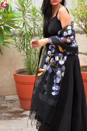 Black Organza Lilac Hand painted Floral Stole