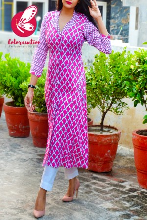 Pink & White Cotton Kurti with White Cotton Silk Pants