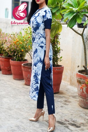 Blue & White Linen Floral Print Kurti with Navy Blue Cotton Silk Pants Kurti Set