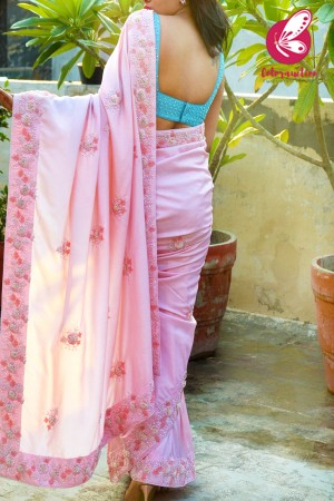 Baby Pink Pure Silk Pearl Hand Embroiered Saree