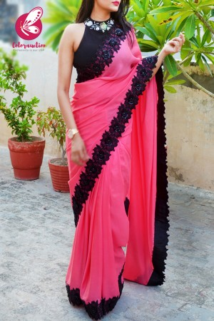 Hot Pink Pure Crepe Floral Applique Saree