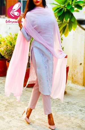 Mauve Pink & Silver Georgette Brocade Silk Padded Kurti with Mauve Pink Stretchable Pants and Silver Mukaish Georgette Dupatta