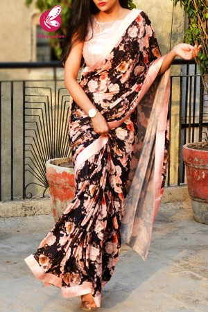 Black Lycra Net Printed Floral Peach Satin Taping Saree