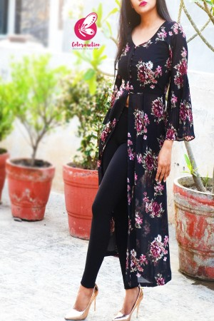 Black Printed Georgette Floral Long Kurti