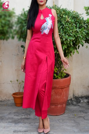 Hot Pink Cotton Silk Kurti Set